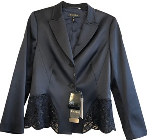 Escada ESCADA Navy Beaded Sequin Jacket & Skirt Suit