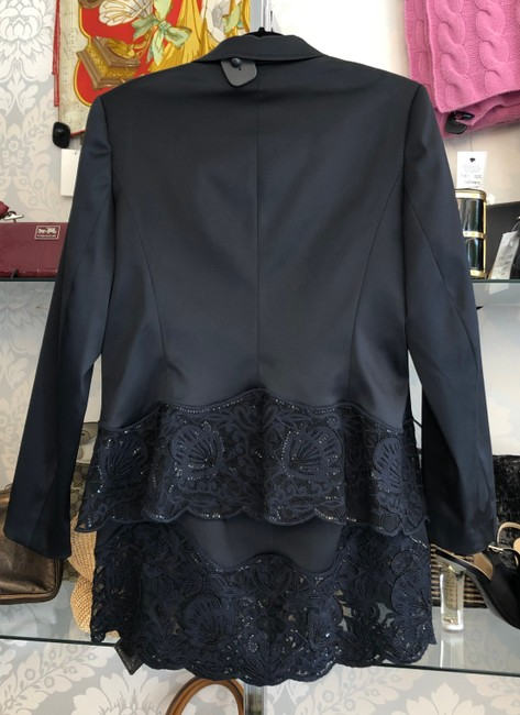 Escada ESCADA Navy Beaded Sequin Jacket & Skirt Suit Image 4