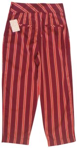 Free People Striped Capri/Cropped Pants Red
