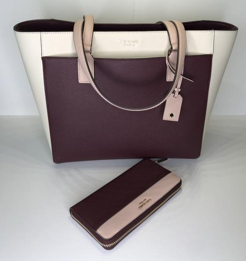 Kate Spade New York Cameron Satchel Tote in White, Warm Beige, Cherry Wood Image 1