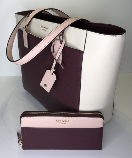 Kate Spade New York Cameron Satchel Tote in White, Warm Beige, Cherry Wood Image 2