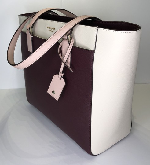 Kate Spade New York Cameron Satchel Tote in White, Warm Beige, Cherry Wood Image 4