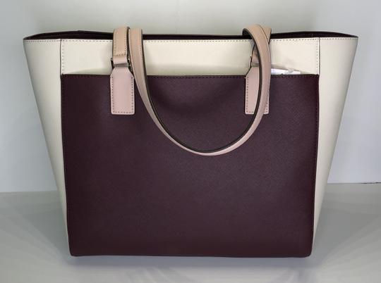 Kate Spade New York Cameron Satchel Tote in White, Warm Beige, Cherry Wood Image 8