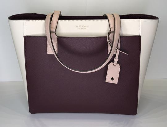 Kate Spade New York Cameron Satchel Tote in White, Warm Beige, Cherry Wood Image 9