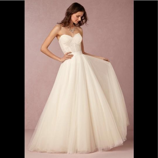Watters Ivory Ahsan Tulle Skirt Modern Wedding Dress Size 10 (M) Image 1