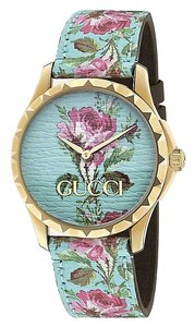 Gucci YA1264085 G-Timeless yellow-gold PVD and leather watch