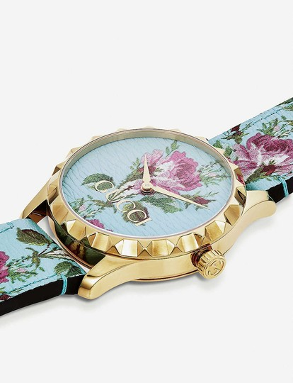 Gucci YA1264085 G-Timeless yellow-gold PVD and leather watch Image 1