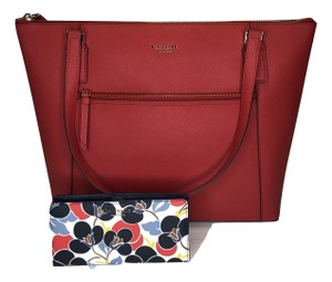 Kate Spade New York Cameron Satchel Pocket Icy Lavender Tote in Hot Chili/Breezy Floral