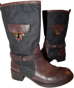 Tory Burch Leona Leather Flannel Brown Boots