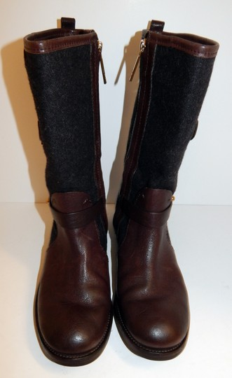 Tory Burch Leona Leather Flannel Brown Boots Image 1