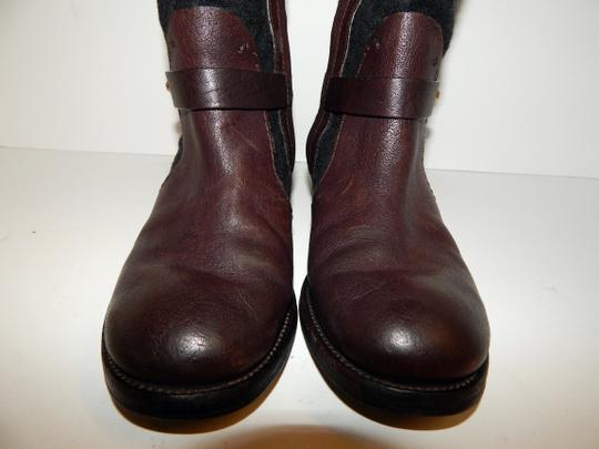 Tory Burch Leona Leather Flannel Brown Boots Image 11