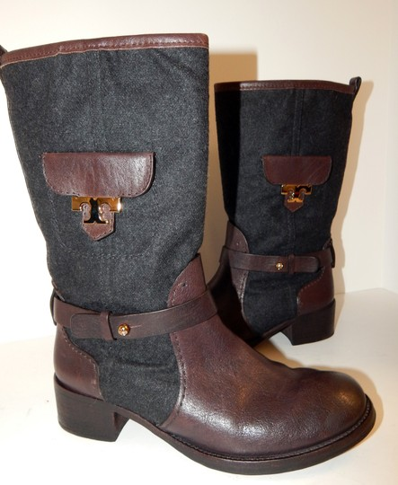 Tory Burch Leona Leather Flannel Brown Boots Image 6