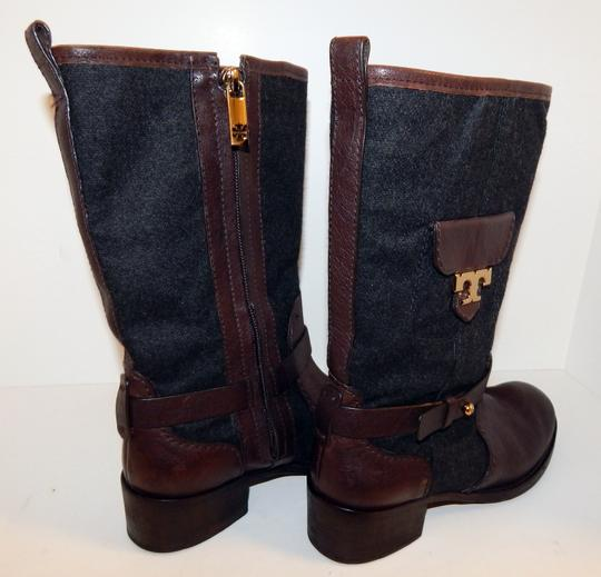 Tory Burch Leona Leather Flannel Brown Boots Image 8