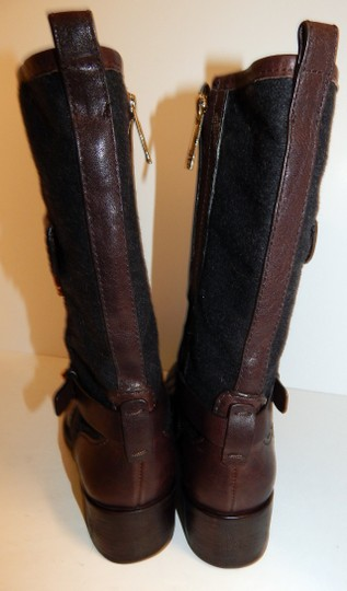 Tory Burch Leona Leather Flannel Brown Boots Image 9
