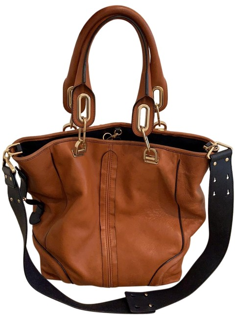 Item - With Piping and Strap Camel/ Navy Lambskin Leather Cross Body Bag