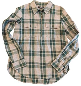 Madewell Button Down Shirt Green and Gray