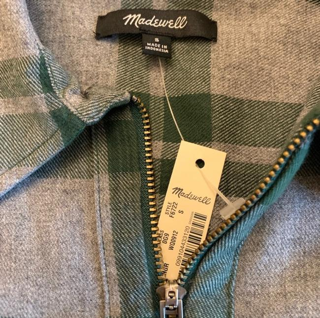 Madewell Button Down Shirt Green and Gray Image 2
