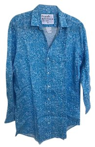Frank & Eileen Button Down Shirt Blue with white flowers