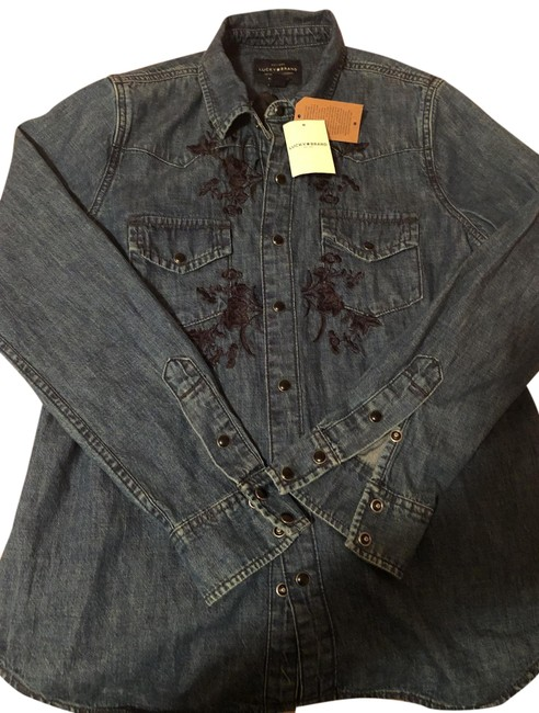 Preload https://img-static.tradesy.com/item/26026030/lucky-brand-jean-blue-forever-cool-button-down-top-size-0-xs-0-1-650-650.jpg