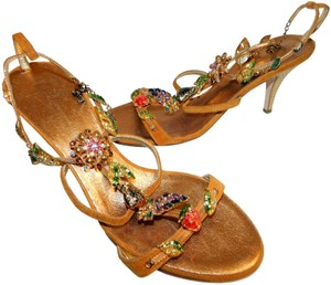 Giuseppe Zanotti Jeweled Strappy Suede Leaves Gold Sandals