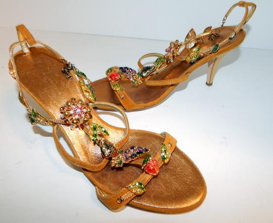 Giuseppe Zanotti Jeweled Strappy Suede Leaves Gold Sandals Image 11
