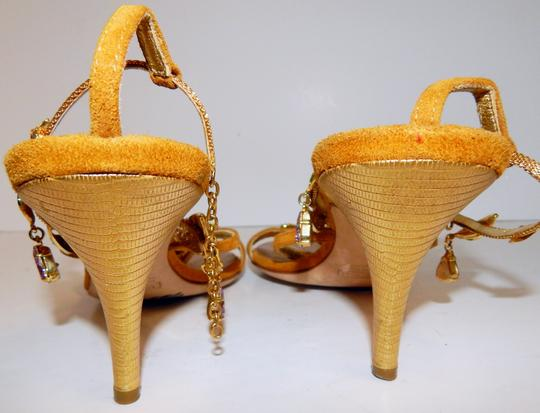 Giuseppe Zanotti Jeweled Strappy Suede Leaves Gold Sandals Image 2
