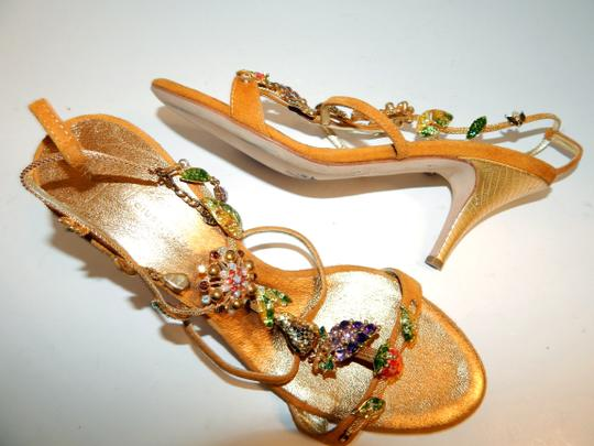Giuseppe Zanotti Jeweled Strappy Suede Leaves Gold Sandals Image 3