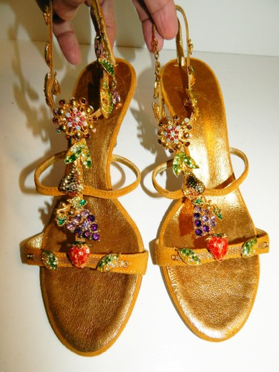 Giuseppe Zanotti Jeweled Strappy Suede Leaves Gold Sandals Image 9