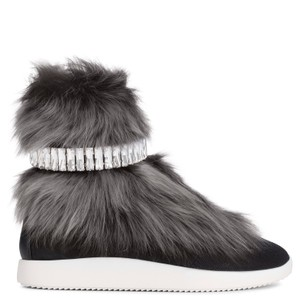 Giuseppe Zanotti Real Fur Crystal Embellished Black/Grey Athletic
