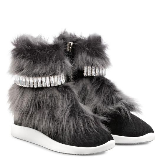 Giuseppe Zanotti Real Fur Crystal Embellished Black/Grey Athletic Image 1