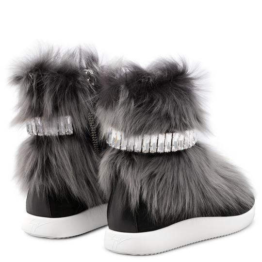 Giuseppe Zanotti Real Fur Crystal Embellished Black/Grey Athletic Image 2