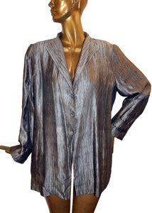 Eileen Fisher Blazer Crinckle Silk Blend Pewter Jacket
