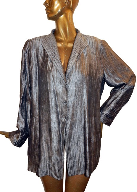 Preload https://img-static.tradesy.com/item/26026097/eileen-fisher-pewter-silk-blend-crinkle-blazer-jacket-size-18-xl-plus-0x-0-2-650-650.jpg