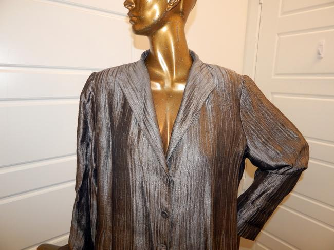 Eileen Fisher Blazer Crinckle Silk Blend Pewter Jacket Image 1