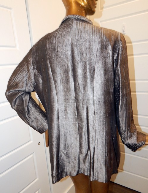 Eileen Fisher Blazer Crinckle Silk Blend Pewter Jacket Image 2