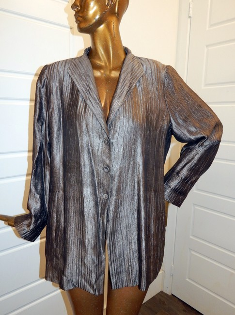 Eileen Fisher Blazer Crinckle Silk Blend Pewter Jacket Image 6