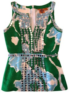 Tory Burch Top Green, white, and blue