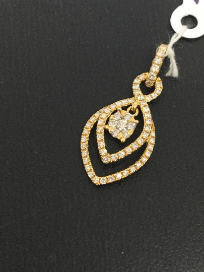 other 18K Yellow Gold Natural Genuine Diamond Double Marquise Shape Pendant Image 1
