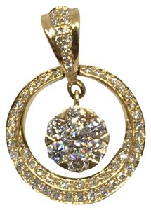 other 18K Yellow Gold Natural Genuine Diamond Circle Center Cluster Pendant