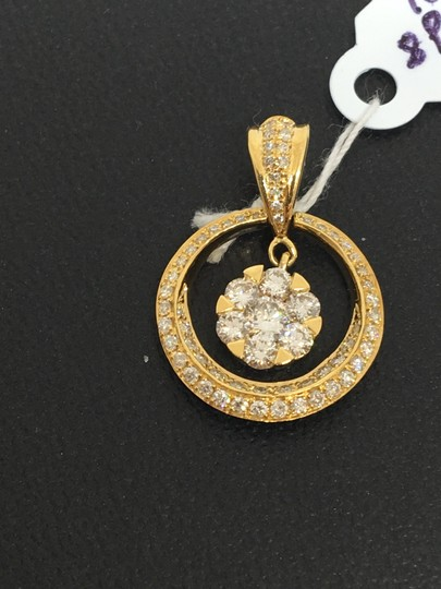 other 18K Yellow Gold Natural Genuine Diamond Circle Center Cluster Pendant Image 1