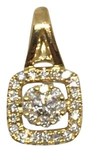 other 18K Yellow Gold Natural Genuine Diamond Square Cluster Halo Pendant