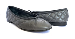 Chanel Ballet Quilted Gray Flats