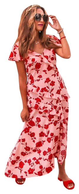 Item - Pink/Red Multi Living Blooms Pink/Red Ruffle Fit & Flare Mid-length Cocktail Dress Size 4 (S)