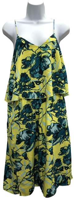 Item - Yellow/Teal Floral Print Poly Tiered Short Casual Dress Size 8 (M)