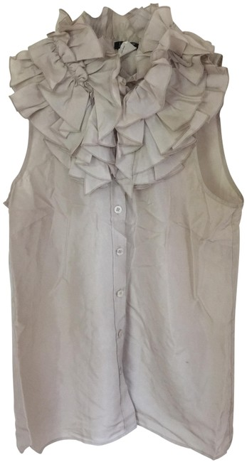 Item - Taupe Beige Silk Sleeveless Ruffles Buttons Blouse Size 2 (XS)