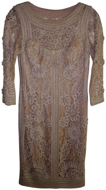 Item - Taupe Nocturne Embroidered and Lace Short Formal Dress Size 2 (XS)