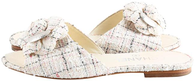 Item - Multicolor Tweed Soft Flat Flower Mules/Slides Size US 7.5 Regular (M, B)