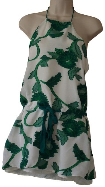 Item - White Green Floral Women's Halter Top Size 2 (XS)