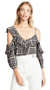 Bailey 44 Top Grey and white plaid