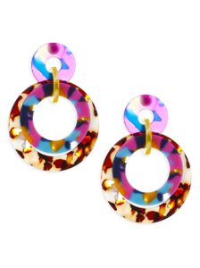 Lele Sadoughi Lele Sadoughi Jungle Peach Banded Hoop Drop Earrings - E900